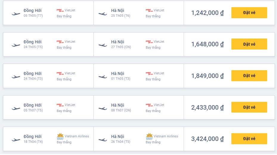 Vé máy bay Quảng Bình Hà Nội