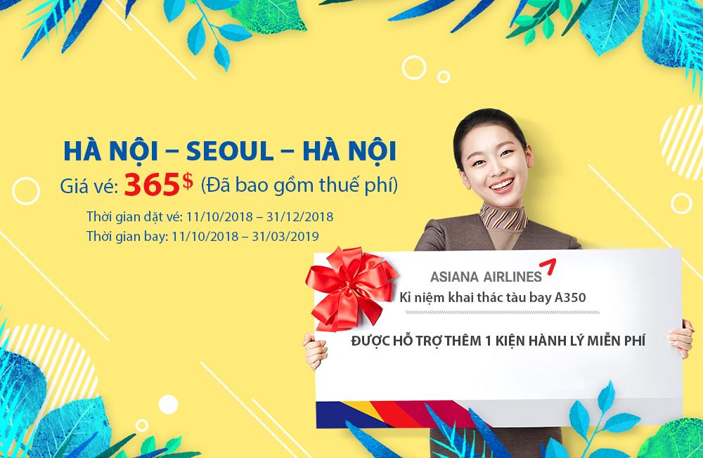 Khuyến mãi vé máy bay Hà Nội – Seoul – Hà Nội 365$ đã bao gồm thuế phí